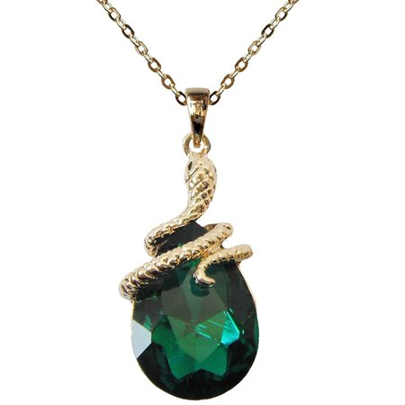 "18k Gold Plated Water Drop Crystal Green Zircon Az6003p Snake Pendant Necklace 16""+2"""