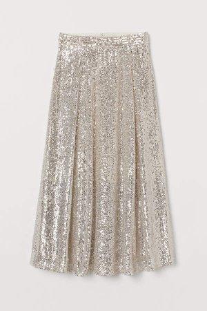Calf-length Sequined Skirt - Beige