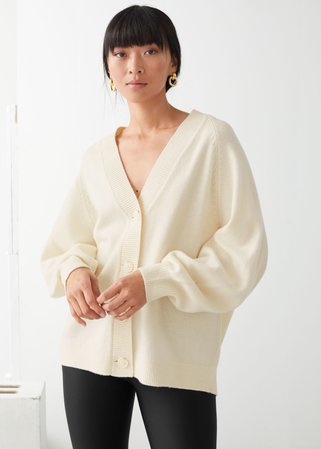 Oversized Wool Cardigan - Beige - Cardigans - & Other Stories