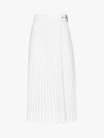 Reiss Arielle Pleat Buckle Belt Midi Skirt, White at John Lewis & Partners