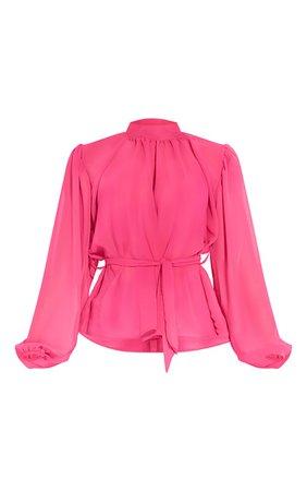 Fuchsia Pink Sheer Chiffon Tie Waist Blouse | PrettyLittleThing USA