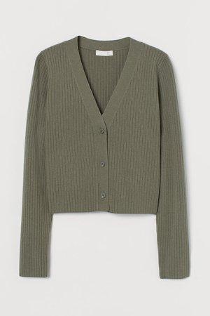 Rib-knit Cardigan - Green