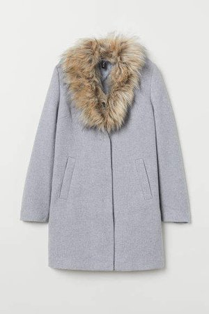 Coat with Faux Fur Collar - Gray
