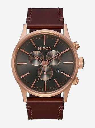 Nixon Sentry Chrono Leather Rose Gold Gunmetal Brown Watch