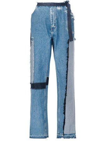 TOME patch wide leg jeans.