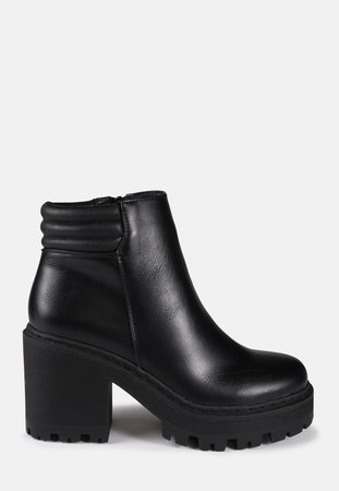 Black Cleated Sole Biker Ankle Boots | Missguided