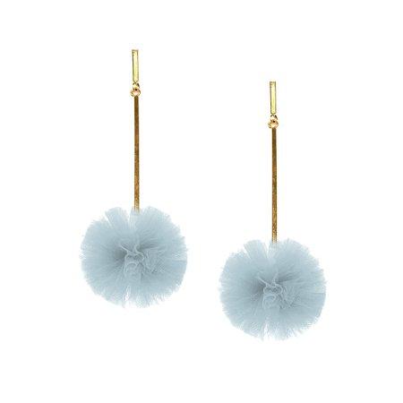 """Light Blue 1"""" Tulle Pom Pom Earrings - Tuleste"""