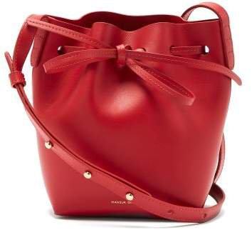 Red Lined Mini Mini Leather Bucket Bag - Womens - Red