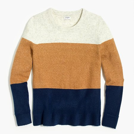 J.Crew Factory: Colorblock Crewneck Sweater In Extra-soft Yarn For Women