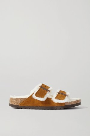 Arizona Shearling-lined Suede Sandals - Tan