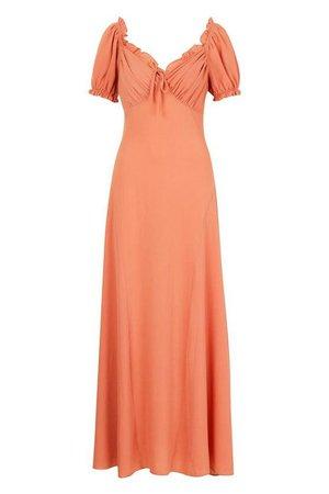 Sweetheart Puff Sleeve Maxi Dress Blush | Boohoo