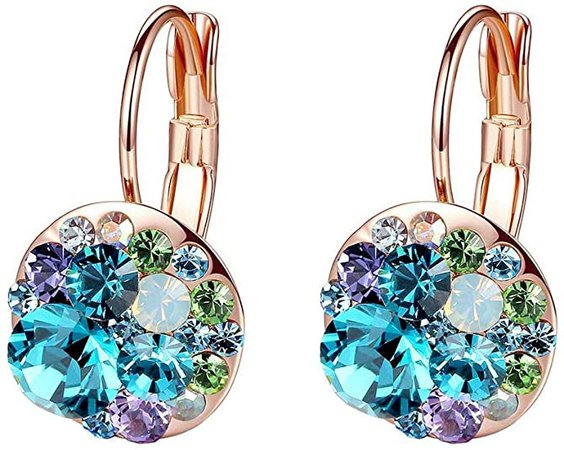 Multicolored Swarovski Crystal Earrings for Women 14K Gold Plated Leverback Dangle Hoop Earrings (Blue Green Crystals/Rose Gold-tone)