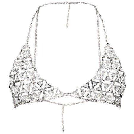 Briella Silver Glitter Chain Bra