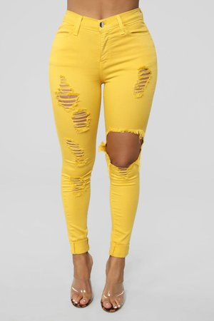 Glistening Jeans - Mustard – Fashion Nova