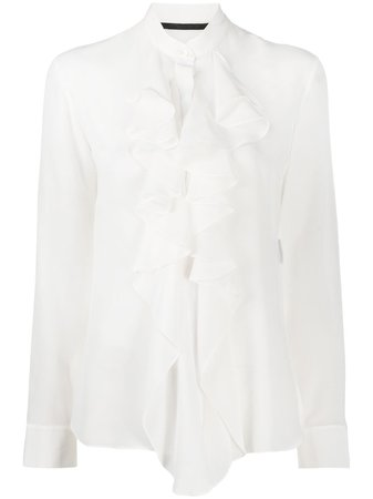 White Haider Ackermann silk ruffle long-sleeve blouse - Farfetch