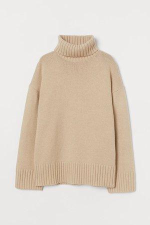 Polo-neck jumper - Beige - Ladies | H&M