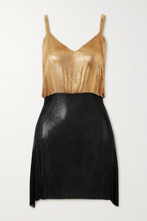 Gold Luna open-back two-tone chainmail mini dress | Fannie Schiavoni | NET-A-PORTER