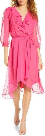 Ruffle Clip Dot Chiffon Faux Wrap Dress