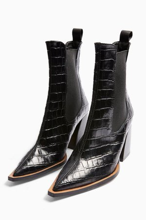 HARRY Leather Black Crocodile Chelsea Boots | Topshop