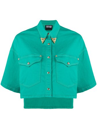 Versace Jeans Couture Cropped Denim Jacket B0HVA60IHRV33155 Green | Farfetch