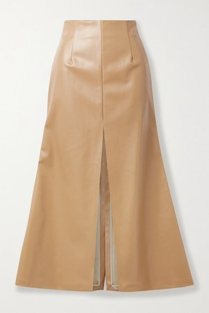 Faux Leather Midi Skirt - Camel