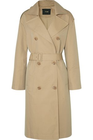 Maje | Belted cotton-canvas trench coat | NET-A-PORTER.COM