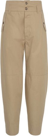 High-Rise Tapered Cotton Wide-Leg Pants