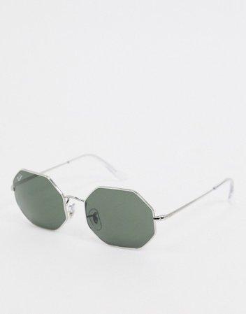 Rayban hexagonal sunglasses in silver | ASOS