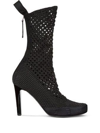 Fendi knitted high-heel boots - FARFETCH