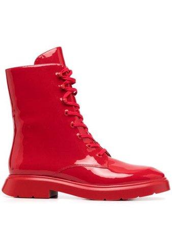 Red Stuart Weitzman vinyl lace-up boots MCKENZEEVINYL - Farfetch