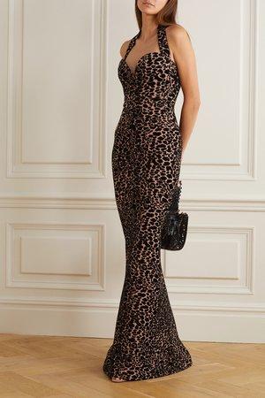 Leopard print Leopard jacquard-knit halterneck gown   Alaïa   NET-A-PORTER