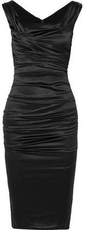 Ruched Silk-blend Satin Midi Dress - Black