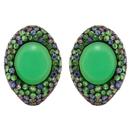 Mousson Atelier Chrysophrase 8.69 Carat Sapphires Tsavorites 18 Karat Yellow Gold Earrings