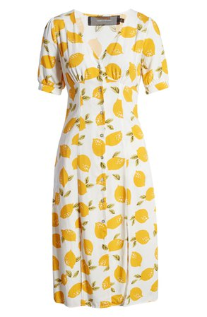 CODEXMODE Lemon Print Slit Hem Midi Dress | Nordstrom