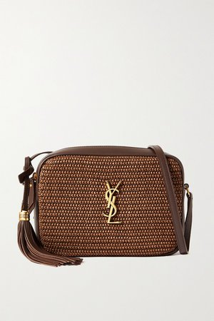 Tan Lou raffia and leather shoulder bag   SAINT LAURENT   NET-A-PORTER
