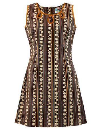 Madcap England Lazy Daisy Retro Mod 60s Dress in Brown 70s Stripes
