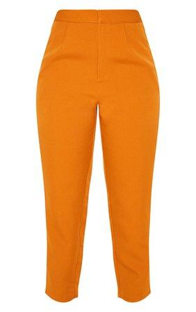 Mustard Cropped Pants   Pants   PrettyLittleThing USA