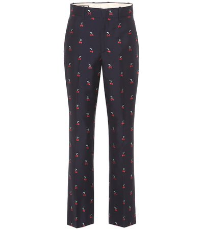 Gucci - Embroidered Fil coupé cotton and wool pants | Mytheresa