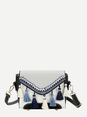 tassel blue bag