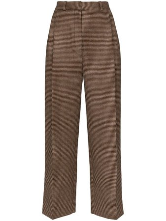 Brown Racil Robert Houndstooth Pattern Trousers   Farfetch.com