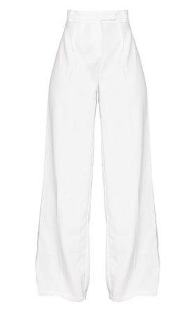 White Wide Leg Woven Pants