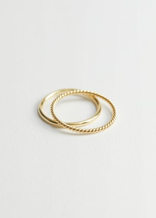 Embossed Ring Set - Gold - Rings - & Other Stories