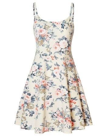 Perfashion Women's Sleeveless Adjustable Spaghetti Strap Summer Sun Midi Dress