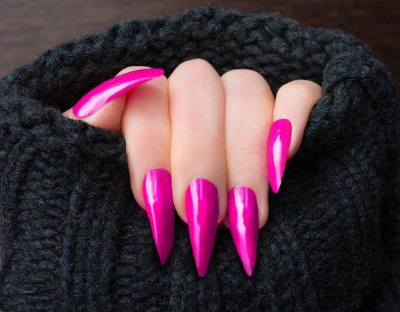 Hot Pink Stiletto Nails