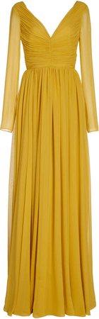 Giambattista Valli Ruched Pleated Georgette Gown