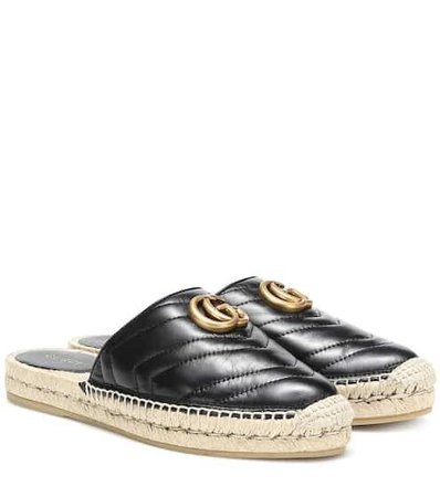 Leather espadrille mules | Gucci