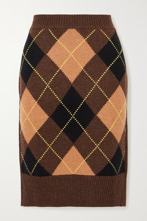 Ayla Argyle Wool And Cashmere-blend Skirt - Brown