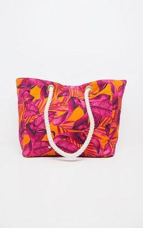 Orange Palm Leaf Tote Beach Bag | Accessories | PrettyLittleThing