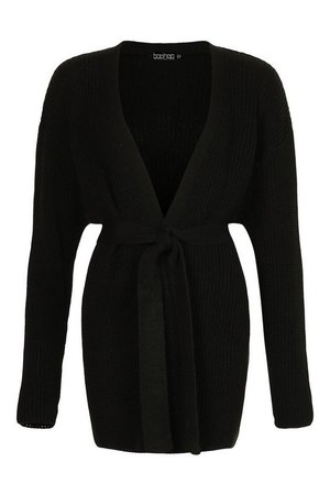 Tall Belted Longline Cardigan | boohoo black