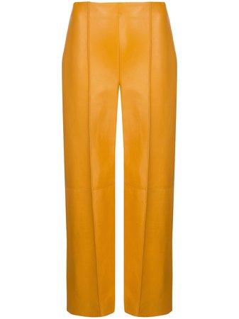 Yellow Oscar de la Renta lambskin leather cropped trousers - Farfetch